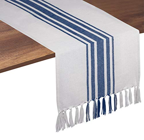 Native Fab Pure Cotton Table Runner Farmhouse 90 Inches Long - Wedding Table Runners with Fringes, Parties Rustic Bridal Shower Decor Dining Table Runners 14x90 Blue White