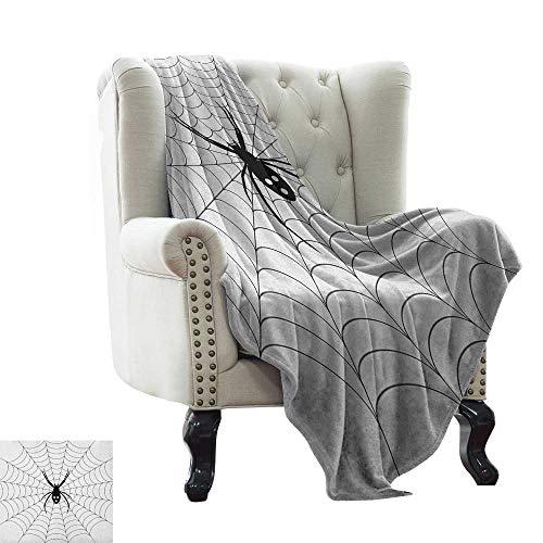 LsWOW Ultra Soft Flannel Fleece Blanket Spider Web,Poisonous Bug Venom Thread Circular Cobweb Arachnid Cartoon Halloween Icon, Black White Cozy and Durable Fabric-Machine Washable 60