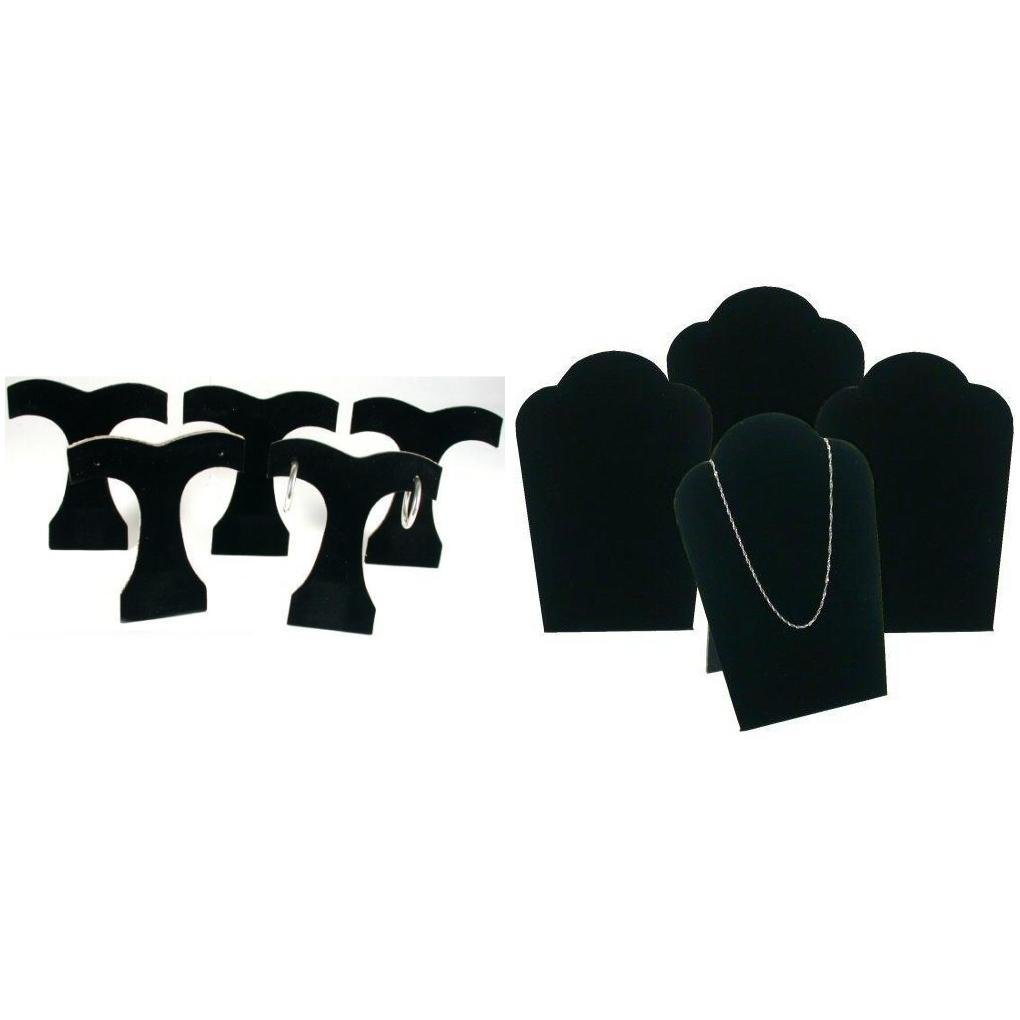 Black Velvet Earring Tree & Velvet Padded Necklace Pendant Bust Easels Kit 9 Pcs FindingKing