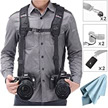 Camera Shoulder Double Strap Harness Quick Release Adjustable Dual Camera Tether Strap and Safety Tether for DSLR SLR Camera