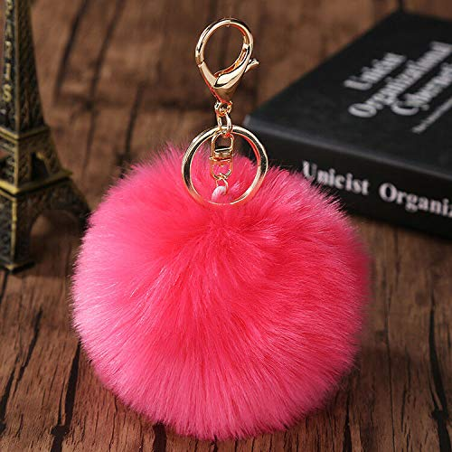 (Fluffy Pom Pom Faux Rabbit Fur Ball Key Chain Ring Keyring Keychain Bag Pendant (Color - Watermelon Red))