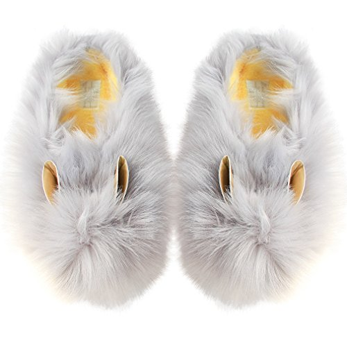 Bear Claw Slippers | Cute Animal Claw Slippers | Cozy Fluffy Bear Paw Slippers | Funny Adorable Monster Cosplay Costumes Slippers (6.5-7.5, Grey Bunny)