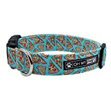Pepperoni Pizza Collar for Pets in Size Medium with Extra Width 1 Inch Wide 14-20 Inches Long - Hand Made Dog Collar by Oh My Paw'd