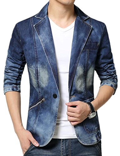 Ekinbrown Men's Vogue Fitted Western-style Button Washed Denim Jean Jackets Blazers