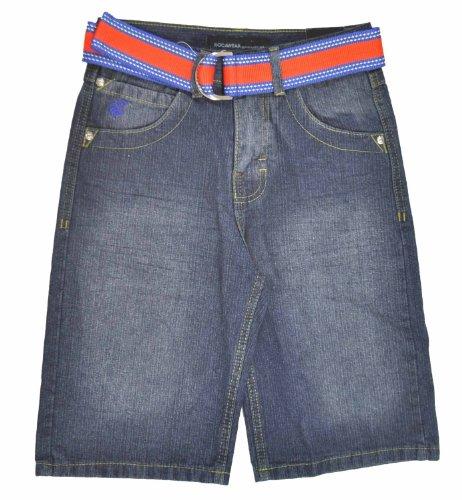 (Rocawear Big Boys Ingigo Denim Blue & Orange W/Belt Short (14))