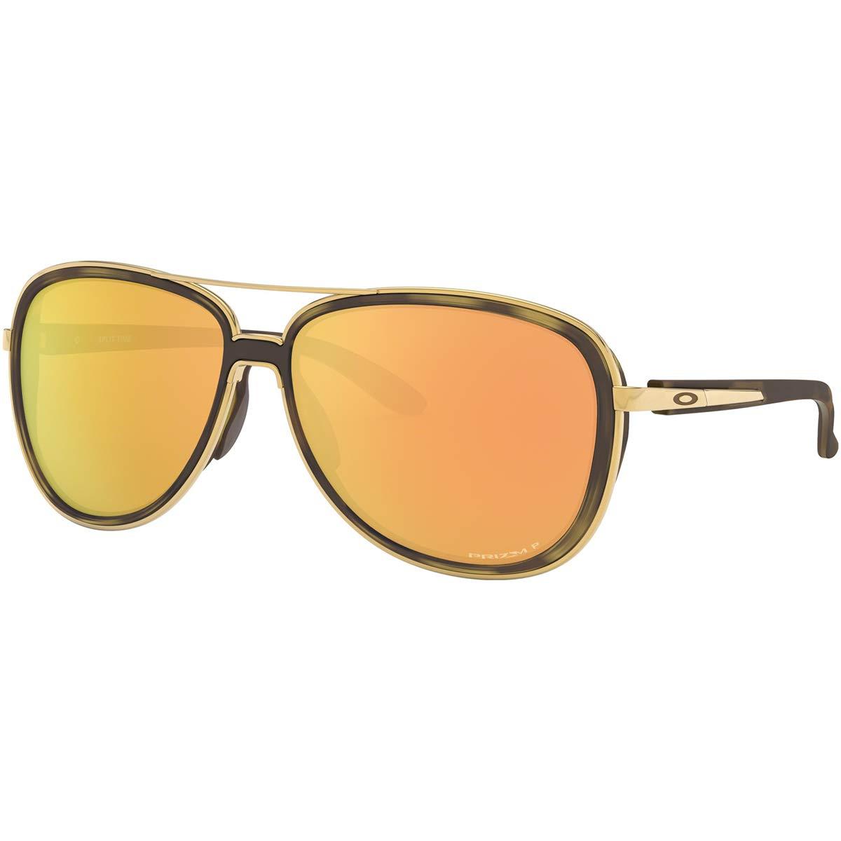 Oakley Women's OO4129 Split Time Aviator Metal Sunglasses, Brown Tortoise Gold/Prizm Rose Gold Polarized, 58 mm by Oakley