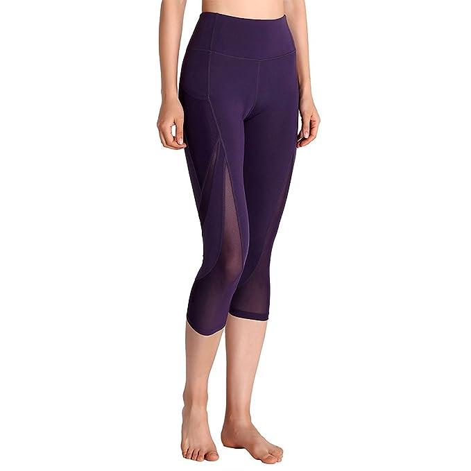 Amazon.com: tesuwel Mujer Capri pantalones de yoga no malla ...