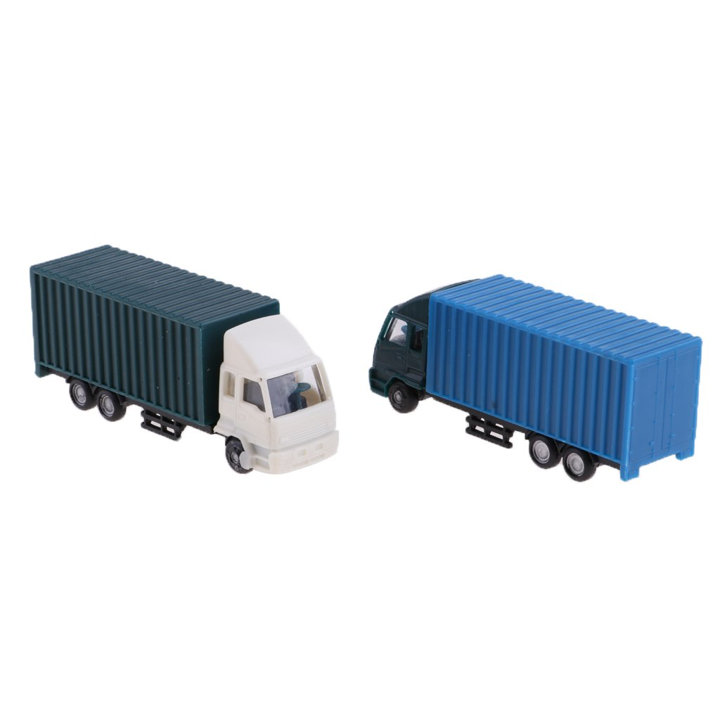 Homyl 2Pcs Container Truck Construction Vehicle Freight Cars Model Figures 1:100 HO Scale