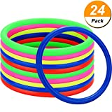 Hestya 24 Pieces Plastic Toss Rings for Kids Adults Hen Party and Speed and Agility Practice Games, 5 Colors