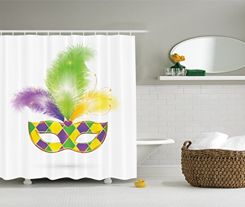 Ambesonne Masquerade Decorations Collection, Colorful Carnival Mask and Glitter Love Celebrate Hiding Eyes Jolly Design, Polyester Fabric Bathroom Shower Curtain Set with Hooks, Green Purple Yellow