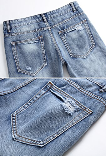 mens ripped slim fit straight denim jeans jogger pants
