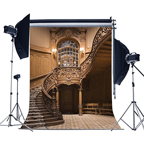MUEEU 6x9ft Stairs Stairways Backdrops Interior Indoor 3D Printed Luxury Palace photocall Seamless Fabric Photo Backgrounds for Children Portrait ()