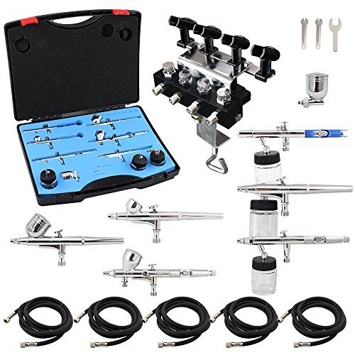 OPHIR 6 PCS Dual-Action Airbrush with 4-Airbrush Holders Set 0.2mm 0.3mm 0.35mm 0.5mm Nozzle Air Brush Spray Paint Guns for Hobby Cake Decoration