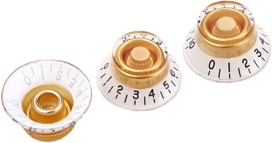 Black Healifty 3pcs Guitar Volume Tone Control Knobs Rotary for Fender Strat ST Telecaster Electric Guitar Bass