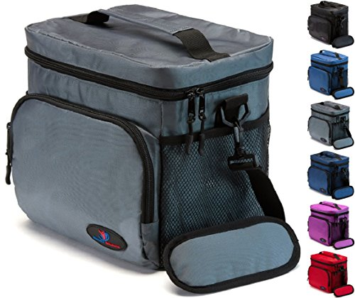 Soft Insulated Lunch Box (Insulated Lunch Bag for Men | Lunch Bags for Men | Lunchbox Adult | Cooler Bags Insulated | Adult Lunch Box by Ramaka Solutions | Non-Toxic Stain Resistant Nylon | 9.5 x 7.9 x 9.3 Inches Grey)