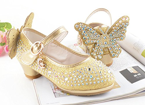 Eozy Kinder Mädchen Glitzer Prinzessin Schuhe Festliche Absatz Schuhe Pumps für Party Hochzeit Gold EU27=29 nXqGt