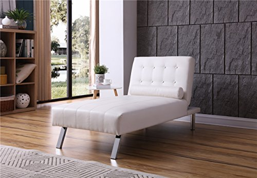 NHI Express 90026-11WT Convertible Chaise Lounger, Sitting 63L 33H Sleeping Dimensions 69.5L x 31W x 16H, White