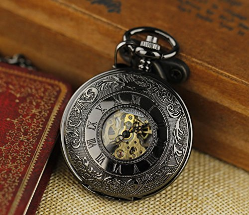 PACIFISTOR Unisex Double Hunter Stainless Steel Semi Automatic Mechanical Skeleton Dial Pocket Watch - Black