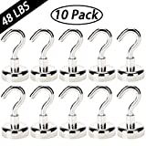 EVISWIY 48LB Magnetic Hooks Heavy Duty for Cruise Cabins Refrigerator Locker Classroom Dia. 25mm Strong Neodymium Magnet Hooks Hangers for Hanging BBQ Grill Tools Keys 10 Pack