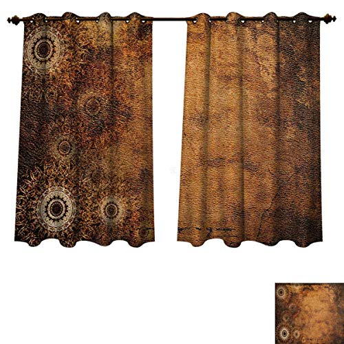 Tan Blackout Curtains Panels for Bedroom Aged Old Texture Print Artistic Floral Motifs Vintage Upholstery Concept Decorative Curtains for Living Room Brown Pale Brown Tan W63 x L45 inch (Upholstery Ashton)