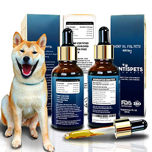 Cold Pressed Extract - Full Spectrum Hemp - Organic Hemp Oil for Dogs and Cats - Stress and Anxiety Relief - Arthritis Hip and Joint Pain Relief - Calming Treat - Car Sick - Diet - Mint Flavor
