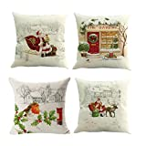 Baleauty Christmas Decoration Pillow Covers 4 Pack Soft Square Throw Pillow Covers Case for Home Couch Car Decorative, 18 x 18 Inches (04)