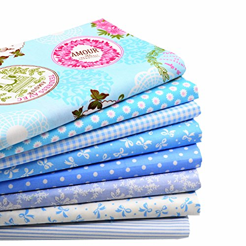 iNee Blue Fat Quarters Quilting Fabric Bundles, Sewing Fabric for Quilting Crafting, 18