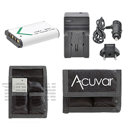 NP-BX1 High-Capacity Battery + Car / Home Charger + Acuvar Battery Pouch For Sony Cyber-shot DSC-HX300, DSC-HX50V, HDR-AS10, HDR-AS15, HDR-AS30V, HDR-GW66, HDR-AS100, HDR-CX240, HDR-PJ275 &More