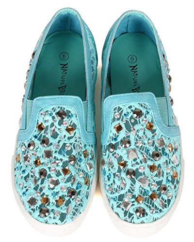 Women Classic Green Lace Nature CA83 Mesh Sea Breeze Mixed on Slip Sneaker Media Rhinestone O6pEp8wq