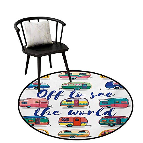 Small Round Rug Carpet Camper Off to See The World Inspirational Quote on Mini Caravans Background Vintage Trip Image Door mat Indoors Bathroom Mats Non Slip D35.4 Multi ()