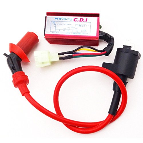 TC-Motor Red Racing Ignition Coil + 6 Pins AC CDI Box For Chinese GY6 50cc 125cc 150cc Engine ATV Quad Go Kart Moped Scooter ()