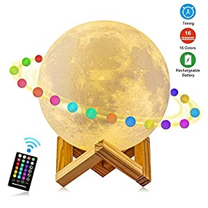 Moon Lamp, GDPETS 3D Printing 5.9 Inch 16 Colors Moon Night Light with Stand & Remote &Touch Control and USB Rechargeable Decorative Luna Lamp for Baby Kids Birthday Party Christmas Gifts