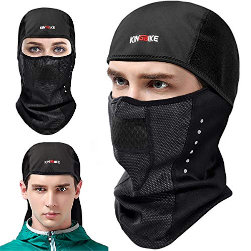 KINGBIKE Balaclava Ski Mask Motorcycle Running Full Face Cover Neoprene Masks Black for Men Women Windproof Warm Winter Cold Weather Gear Cycling Bike Skiing Tactical Thermal Fleece Breathable Vents