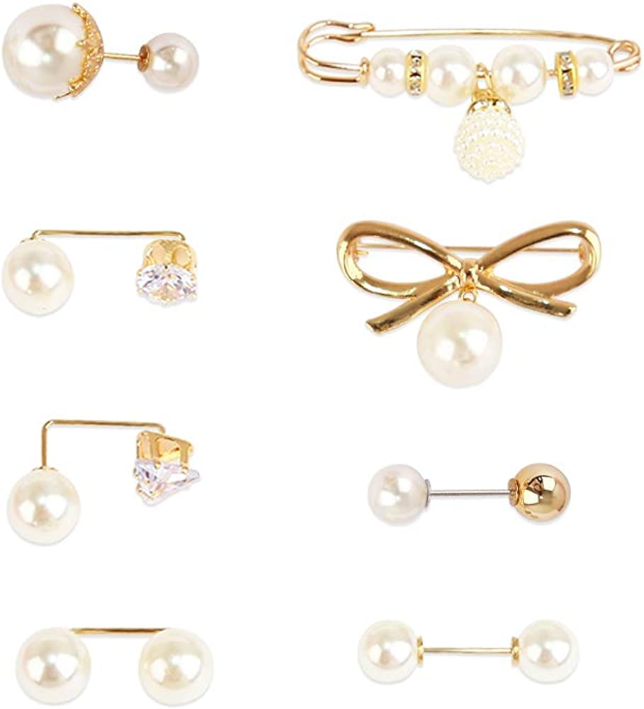 la luen Bow Brooch Pins Sweater Shawl Clips Faux Pearl Brooch Pins for Women Girls brooches for Women