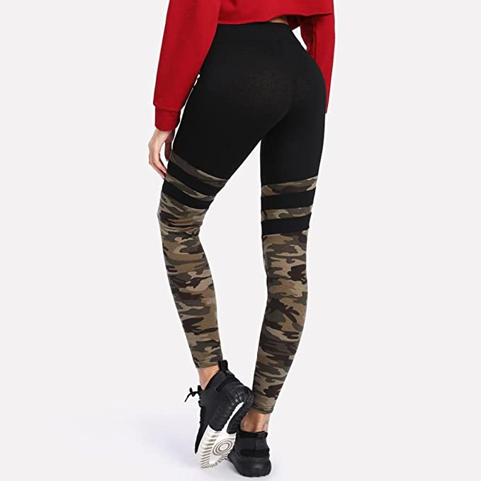 4dd3e36d670aa1 Memela Women's Camo Stitching Stripe Workout Leggings Fitness Sports  Running Yoga Athletic Pants Tight Fit at Amazon Women's Clothing store: