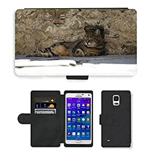 PU LEATHER case coque housse smartphone Flip bag Cover protection // M00129768 Cat Sleep Animal // Samsung Galaxy Note 4 IV