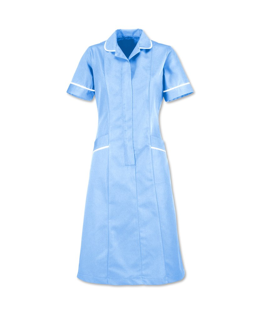 Alexandra AL-D308PB-136T Series AL-D308 Soft-Brushed Dress, Plain, Tall, White Piping/Trim, Size 136 cm, Chest Size 30, Pale Blue