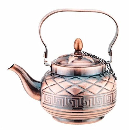 (Mega Cook Stovetop Tea Kettle Teapot- Stainless Steel with Copper Finishing- 1.2)