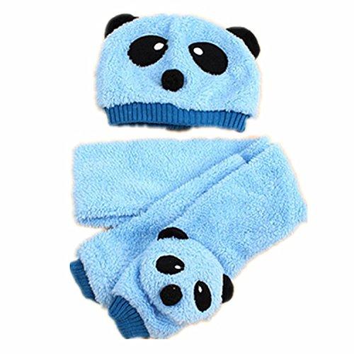 BuyHere Unisex-Baby Panda Cap with Scarf Set,Blue ()