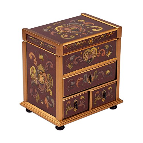NOVICA Hand Made Wood and Reverse Wine and Flowers' Painted Glass Jewelry Box