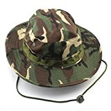 Tinksky Adult Outdoor Sports Wide Brim Boonie Hat Cap Fishing Hat - Free Size (Green Camouflage)