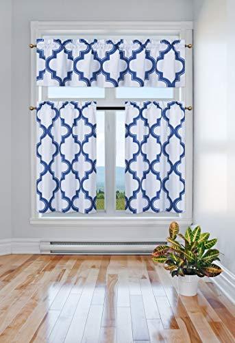 GorgeousHome (7LO) 3PC Kitchen Set 2 Tier +1 Valance Geometric 2-Shade Print Lined Blackout Window Curtain Rod Pocket Top Panel Drape Many Colors (Royal Blue)