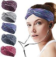 5 Pack Sweatband for Women Girl Yoga Headband Athletic Sweat Wicking Headband Stretchy Non Slip Headbands Wide