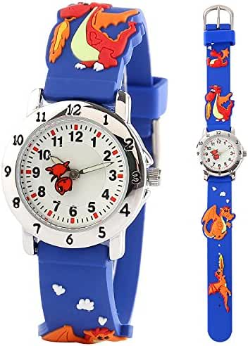 CLOOKER 3D Kid Watch Cartoon Dinosaur Design Rubber Band Quartz Wristwatch for Boy Girl Children Blue
