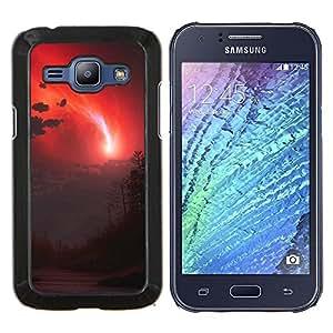 EJOOY---Cubierta de la caja de protección para la piel dura ** Samsung Galaxy J1 J100 ** --cielo rojo