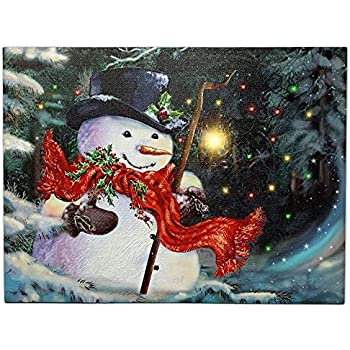 BANBERRY DESIGNS Light Up Snowman Picture - LED Lights Christmas Canvas Print - Snowmen Wall Hanging with a Black Top Hat and a Red Scarf - Winter Scene