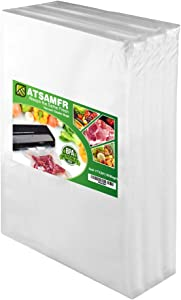 ATSAMFR 4mil 100 Plus Gallon Size11x20Inch Vacuum Sealer Food Saver Bags with BPA Free,Heavy Duty,Great for Vac storage or Sous Vide Cooking
