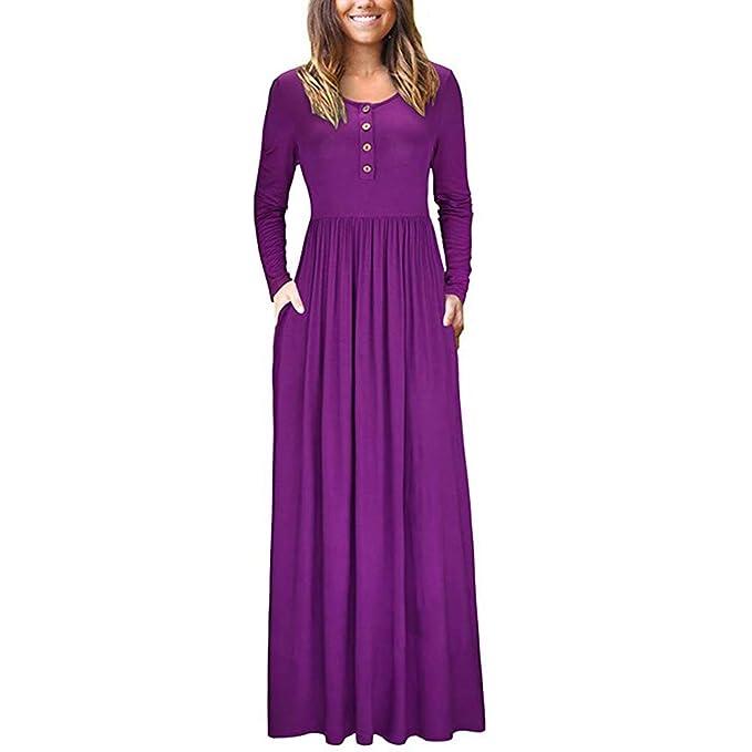 404e9e26a4f HOOYON Women s Maxi Dress Casual Plain Long Sleeve Button Down Long Dress  with Pockets Purple S