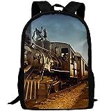 YIXKC Adult Backpack Nostalgic Steam Train School Bag Travel Daypack