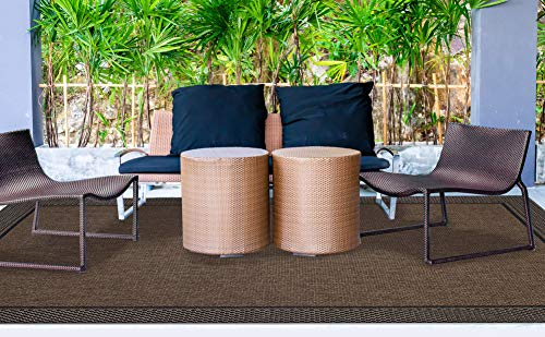 (Gertmenian 21656 Outdoor Patio Rug Modern Furman Collection, 8' x 12' Big, Raven Brown)